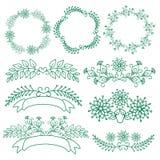 Sistema de floral dibujada mano de guirnaldas el estilo rústico Fotos de archivo libres de regalías