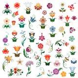 Sistema de flores coloreadas Imagenes de archivo