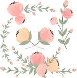 Sistema de flores diseñadas retras aisladas en el fondo blanco, vector Fotos de archivo libres de regalías