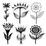 Sistema de flores negras grotescas Imagenes de archivo
