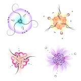 Sistema de flores ornamentales del círculo con simetría triple, agradable ilustración del vector