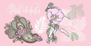 Sistema de flores y de hojas en un estilo realista y decorativo, f Ilustración del Vector