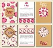 Sistema de folletos en estilo retro Folleto del vector Imagen de archivo libre de regalías