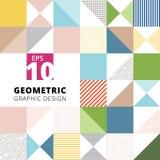 Sistema de fondo colorido geométrico del modelo del diseño gráfico, squ ilustración del vector