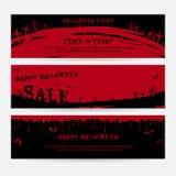 Sistema de fondo de las banderas del feliz Halloween en cementerio rojo fantasmagórico Fotos de archivo libres de regalías