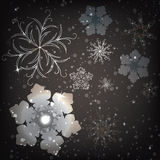 Sistema de fondo de los copos de nieve. Ejemplo del vector Imagenes de archivo