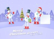 Sistema de fondo del vector de la Navidad de los snowmans ilustración del vector