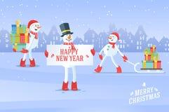 Sistema de fondo del vector de la Navidad de los snowmans stock de ilustración