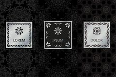 Sistema de fondo inconsútil de lujo negro de los modelos en estilo linear de moda Ejemplo del vector para el diseño elegante Extr ilustración del vector