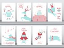 Sistema de fondo lindo de la Feliz Navidad con el animal y el árbol de navidad lindos, fondo precioso con símbolos del día de fie fotos de archivo libres de regalías