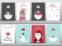 Sistema de fondo lindo de la Feliz Navidad con el animal y el árbol de navidad lindos, fondo precioso con símbolos del día de fie fotos de archivo