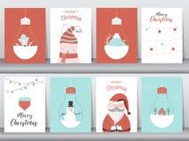 Sistema de fondo lindo de la Feliz Navidad con el animal y el árbol de navidad lindos, fondo precioso con símbolos del día de fie foto de archivo libre de regalías