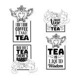 Sistema de fondo tipográfico de la cita sobre té Imagen de archivo libre de regalías