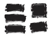 Sistema de fondo universal de la pintura del negro del grunge con el marco Elementos artísticos sucios del diseño, cajas, marcos