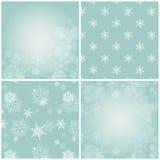 Sistema de fondos azules con los copos de nieve. Imágenes de archivo libres de regalías