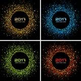 Sistema de fondos coloridos brillantes del marco del círculo del Año Nuevo 2017 Foto de archivo