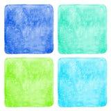 Sistema de fondos cuadrados coloridos de la acuarela Imagenes de archivo