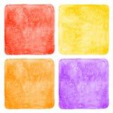 Sistema de fondos cuadrados coloridos de la acuarela Fotos de archivo