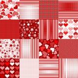 Sistema de fondos del día de tarjetas del día de San Valentín Fotografía de archivo libre de regalías