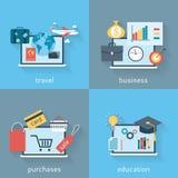 Sistema de fondos del diseño plano moderno de viajar, de negocio, de compras y de educación ilustración del vector