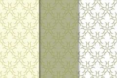 Sistema de fondos florales del verde verde oliva Modelos inconsútiles Imágenes de archivo libres de regalías