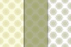 Sistema de fondos florales del verde verde oliva Modelos inconsútiles Imagen de archivo