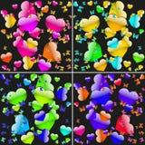 Sistema de fondos inconsútiles con los corazones y las mariposas coloreados Foto de archivo libre de regalías