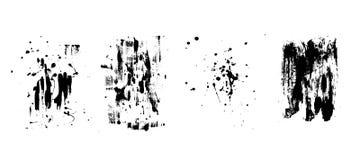 Sistema de fondos negros artísticos del grunge Textura del vector Elemento artístico sucio del diseño Movimiento del cepillo, sal ilustración del vector