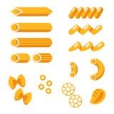 Sistema de formas de las pastas Colección de las pastas Fotografía de archivo libre de regalías