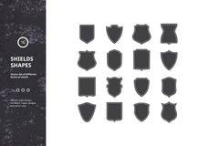 Sistema de formas del escudo del vintage Fotos de archivo libres de regalías