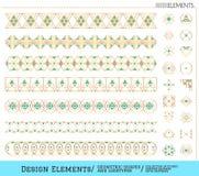 Sistema de formas geométricas del oro y de logotypes6548885111z3 Imagen de archivo
