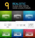 Sistema de formularios de inicio de sesión transparentes realistas del web del vidrio y del metal libre illustration