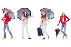 Sistema de fotos con la mujer y el paraguas Fotos de archivo libres de regalías