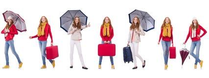 Sistema de fotos con la mujer y el paraguas Fotografía de archivo