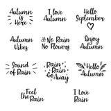 Sistema de frases del otoño Caligrafía moderna para la bandera, cartel, tarjeta Imágenes de archivo libres de regalías