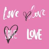 Sistema de frases dibujadas mano de las letras de día de las tarjetas del día de San Valentín del santo sobre amor La foto sobrep stock de ilustración