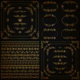 Sistema de fronteras decorativas del oro, marco del vector Foto de archivo libre de regalías