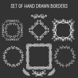 Sistema de fronteras a mano del remolino del vector Foto de archivo libre de regalías