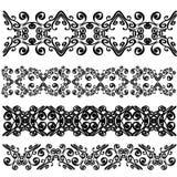 Sistema de fronteras negras del cordón aisladas en el fondo blanco ilustración del vector
