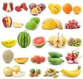 Sistema de fruta en el fondo blanco Foto de archivo libre de regalías