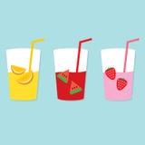 Sistema de fruta Juice Glasses Foto de archivo libre de regalías