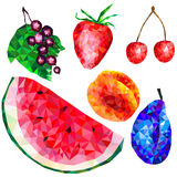 Sistema de fruta y de las bayas, triángulos stock de ilustración