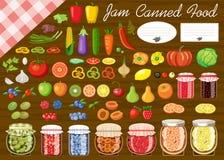 Sistema de fruta y verdura para el atasco y la comida enlatada Fotos de archivo
