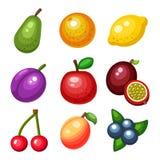 Sistema de frutas de la historieta del vector Imagen de archivo libre de regalías