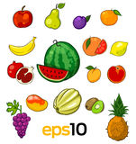 Sistema de frutas del bosquejo del vector Fotografía de archivo