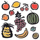 Sistema de frutas dibujadas mano aisladas en el fondo blanco ilustración del vector
