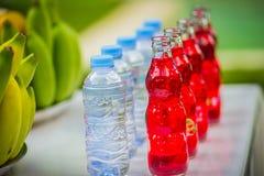 Sistema de frutas tropicales frescas incluyendo bebidas y agua Fotografía de archivo