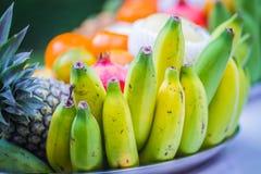 Sistema de frutas tropicales frescas incluyendo el plátano, naranja, piña Imágenes de archivo libres de regalías