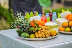 Sistema de frutas tropicales frescas incluyendo el plátano, naranja, piña Imagen de archivo libre de regalías