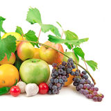 Sistema de fruta y de verduras frescas Imagen de archivo libre de regalías